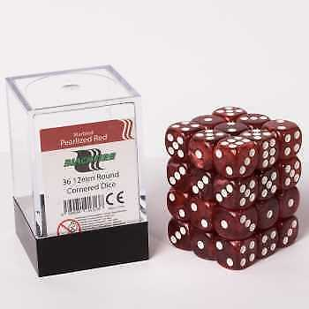 Blackfire Dice Cube - D6 36 Dice Set Marbled Pearlized Red, 12mm