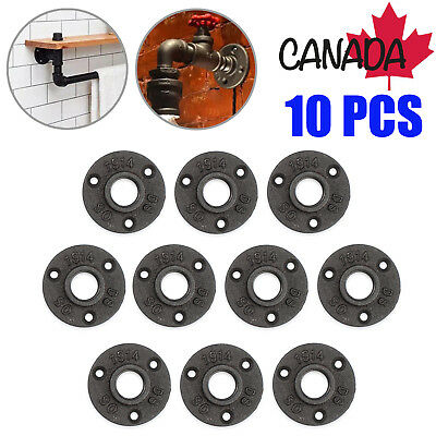 "10X Malleable 3/4"" Threaded Wall Floor Flange Cast Iron Pipe Fitting Black CA"