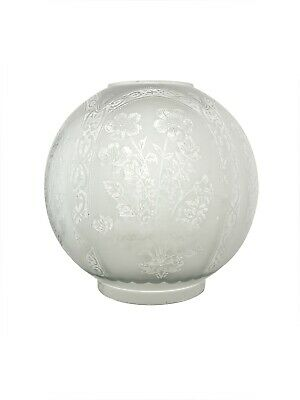 Oil Lamp Shade: Etched Pattern for Double Wick Lamp