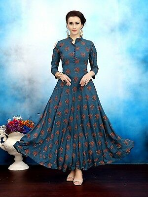 Women's Block Print Anarkali Kurta  (Blue)