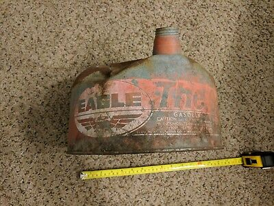 Vintage Weathered Eagle Galvanized Steel Gas Can 2.5 Gal Double Cap USA