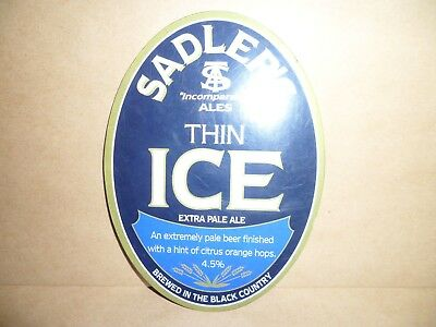 SADLERS THIN ICE Ale Beer Pump Clip face Bar