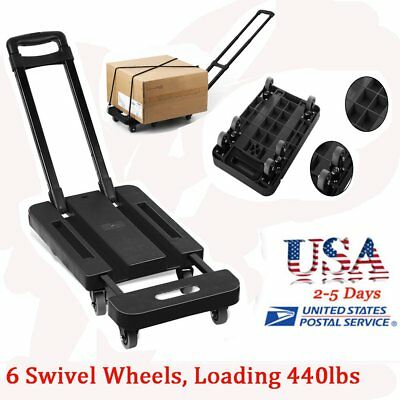 440LB Folding Hand Truck Dolly Collapsible Cart Luggage Trolley & 6 Wheel New AS