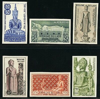 Laos 1953 Buddha 34-39 Trial Colour Proofs Imperforate Ungezähnt MNH / 113