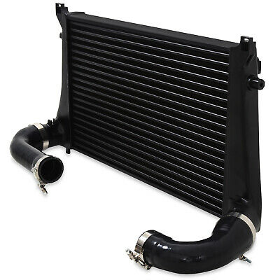 Black Alloy Front Mount Intercooler Fmic Kit For Vw Golf Mk7 2.0 Gti Tsi R 11+