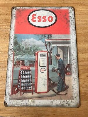 Vintage Retro Style Metal Tin Sign Poster Esso Petrol Station Cave Wall Home