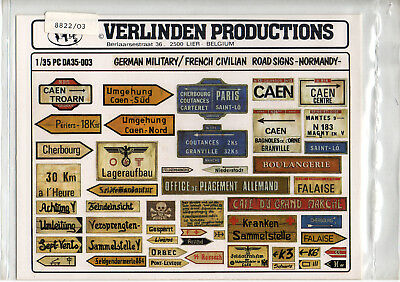 VERLINDEN 35003 German military/French civilian road signs Normandy scala 1/35