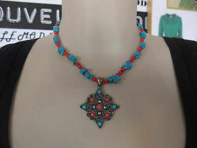 Collana collanina con scaglie di turchese e perline rosse necklaces collier