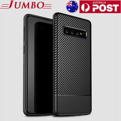 Samsung Galaxy S10 S9 S8 Plus Note 9 Carbon Fibre Case Slim TPU Shockproof Cover