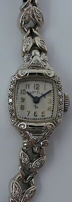 Lady Elgin Vintage 14K White Gold with Diamonds AS IS