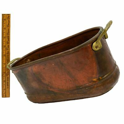 "Antique COPPER ROASTING POT Small 10"" (No Lid) w/ 'DOVETAIL' BASE Brass Handles"