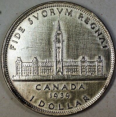 1939 Canada Silver Dollar $1 Coin King George the VI Parliament Building XF