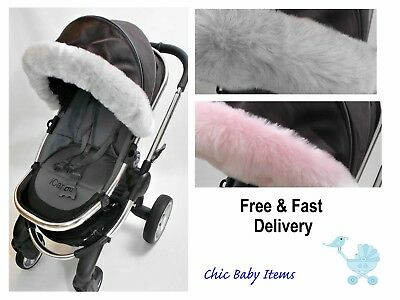 Pushchair pram hood fur trim fit  ICandy Bugaboo Stokke myBabiie Egg Mima Quinny