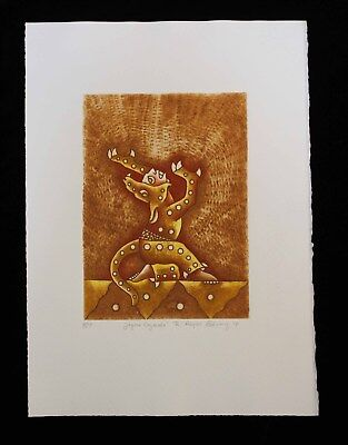 Jaguar Warrior Etching Hand tinted Natural pigments Reyes Gomez Oaxaca Mexican