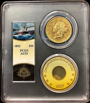 1852-P $20 Liberty Gold PCGS AU53 SS Central America shipwreck with gold dust