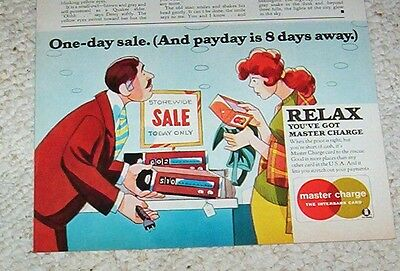 1974 vintage ad -Master Charge credit card- sale lady art Interbank PRINT ADVERT