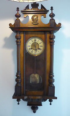 """Antique Vienna Wall Clock Walnut Cased Pendulum Chiming Carved Face with Key 40"""""""