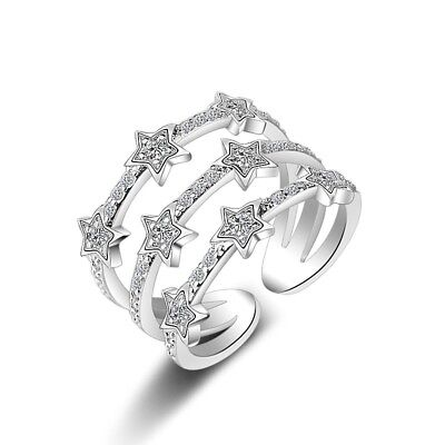 Women Star Heart Knuckle Midi Mid Crystal Finger Stacking Open Finger Band Ring