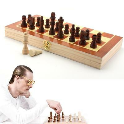 3D Wooden Pieces Chess Set Folding Board Box Wood Hand Carved Gift Kids Toys TR