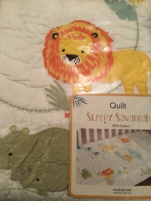 Mothercare Sleepy Savannah Quilt For A Cot Or A Cot Bed. ***BNIP***