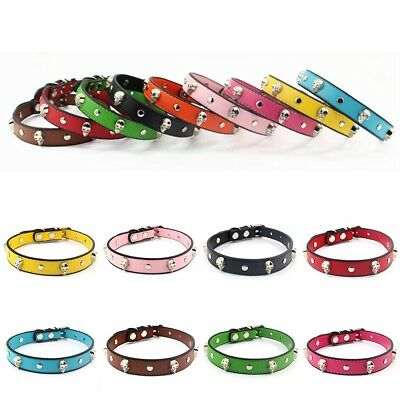 Pets Dog Collar Skull PU Leather Collar Choker Necklace For Small Pet Cat Leash