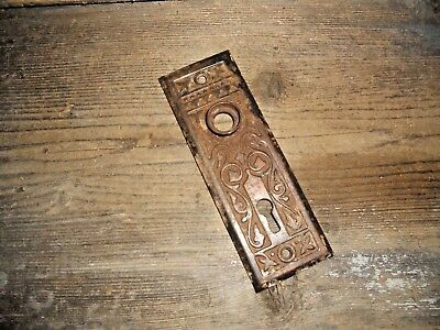 Vtg Rustic Aged Eastlake Victorian Fancy Ornate Antique Door Backplate