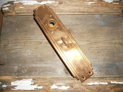 Vtg Art Deco Skyscraper Large Antique Door Knob Backplate With Thumb Latch