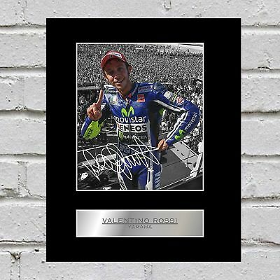 Valentino Rossi Signed Mounted Photo Display Yamaha
