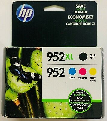 NEW Genuine HP 952XL Black & 952 Cyan, Magenta, Yellow Ink Cartridges Exp. 2019