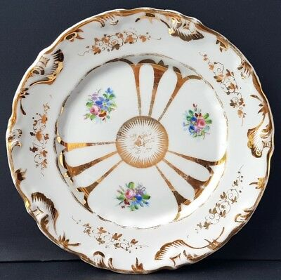 Porcelain Plate,Hand Painting Gold Flowers for a.Schumann ,around 1870 - 1880