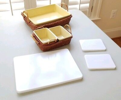 Temptations Ceramic & Rattan 6 Piece Rectangular Bake & Serve Set w/Lids