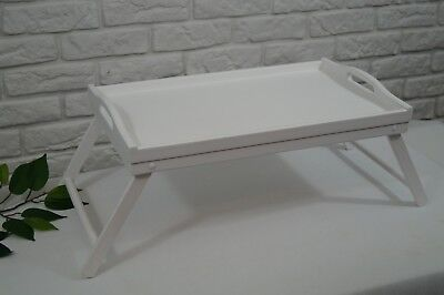 Wooden Lap Tray Breakfast in Bed Serving with Folding Legs Table Mate Wipe WHITE
