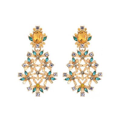 earrings Candlestick Floral Art Deco Green Crystal Yellow Marriage XX26