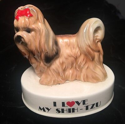 Vintage George Good I Love My Shih-Tzu Dog Ceramic figurine Statue