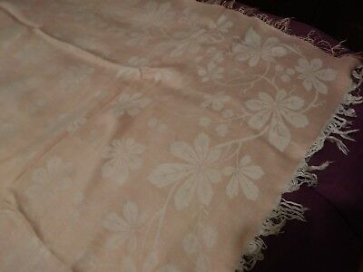 Amazing Antique French Linen Damask Peach with Fringe Tablecloth 62 by 58 Inches