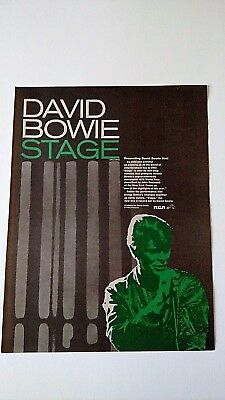 "David Bowie  "" Stage ""  (1978)    Rare Original Print Promo Poster Ad"