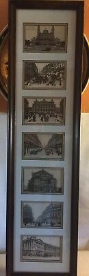 10 x 37 antique postcards,Paris Architecture,double matted set of 7