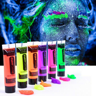 HOT 6 Pack Face Body Paint UV Blacklight Glow In The Dark Makeup Party Body Art