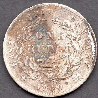 1840 East India Company - One Rupee  - Silver - Queen Victoria