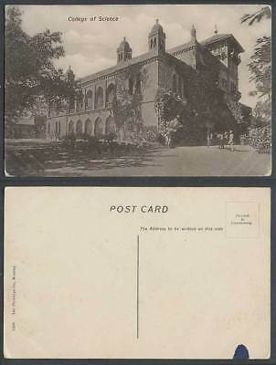 India Old Postcard College of Science School Horse Cart The Phototypie Co Bombay