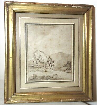 antique 18th century original Jean-Baptiste Huet goat ink drawing painting art .