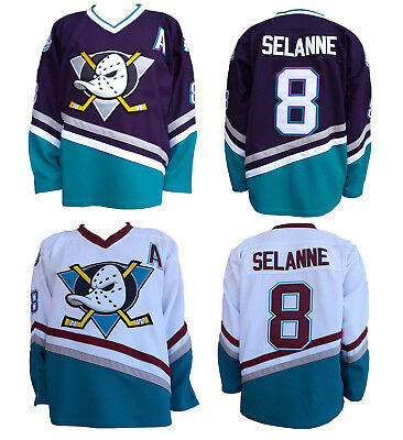 a7b9ac1ae Teemu Selanne The Mighty Ducks Movie Jerseys #8 Throwback Stitched Size S -3XL