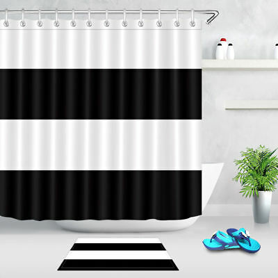 White And Black Stripes Simple Fabric Shower Curtain Sets Bathroom Accessories