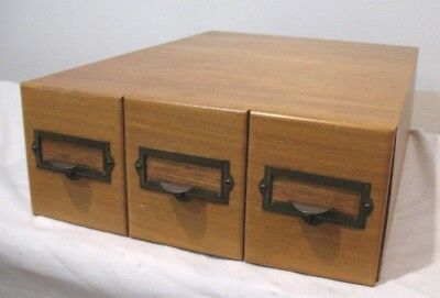 Vintage NEGA FILE ~ Antique 3-Drawer Photography Slide Storage Box ~ 18 x 13 x 5