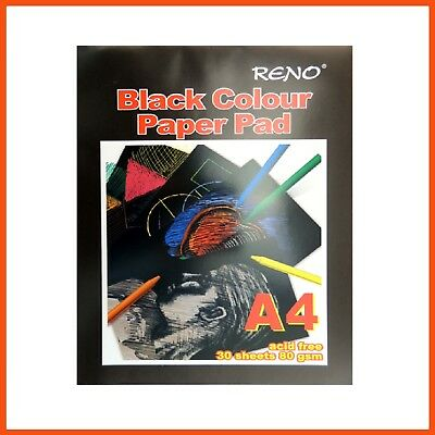 10 x RENO ART A4 BLACK PAGE DRAWING PAD 80gsm 60pg Design Pad Drawing Acid Free