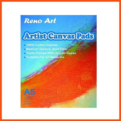 20 x RENO ART A5 CANVAS PAD | 290gsm 20pg Art Painting Draw Create Artist Primed