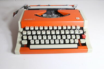 Olympiette 3 Portable Typewriter ~ Bright Orange ~ Comes with Case