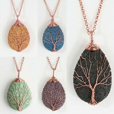 Natural Volcano Lava Stone Tree of Life Rose Gold Wire Wrap Pendant Necklace