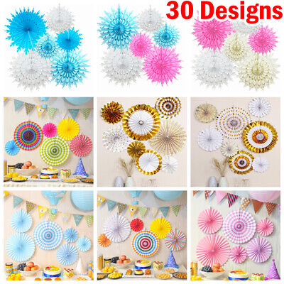 6 Mixed Tissue Paper Fans Flowers Hanging Wedding Party Tissue Table Decortaion