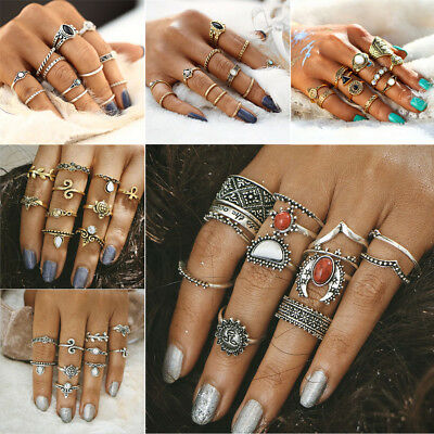 Women Vintage Bohemian Crystal Flower Retro Silver Gold Boho Finger Ring Set